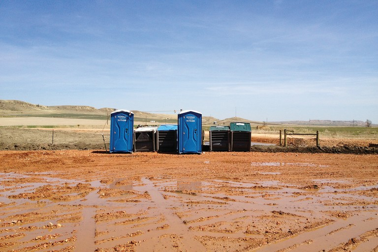 Porta-potties in the Bakken, where women are few and living conditions are spartan.