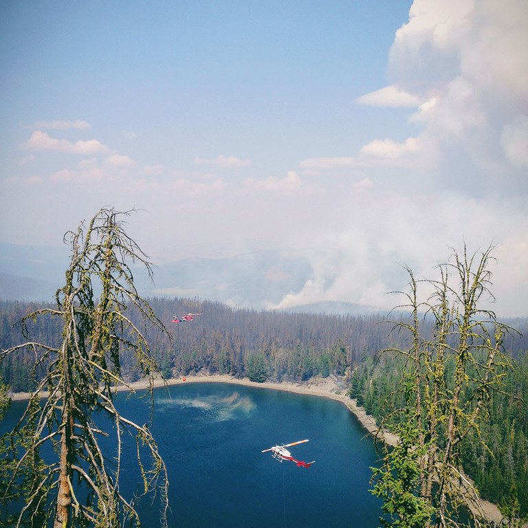 """'Thud, thud, thud' is all I could hear as these two helicopters filled their buckets in the lake. We were checking out a sloppy burn on the side of the hill which gave us a extremely beautiful view of the Moose Meadows Fire in Montana. You can see the fire burning off in the distance, creating a column that shot into the sky for what seemed like forever."""