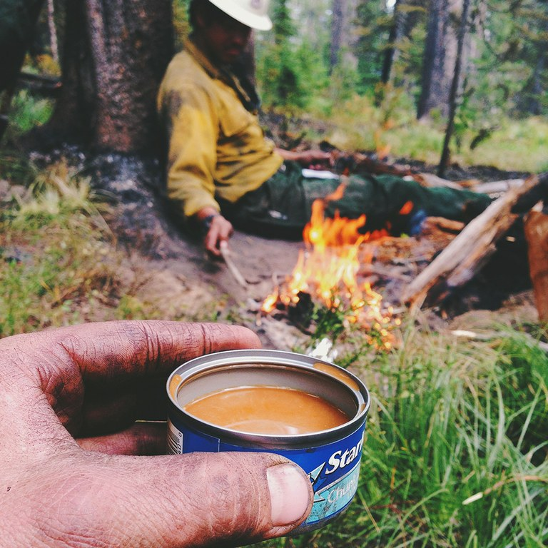 """Sometimes you just want a cup of joe that badly. So you make a tuna can/Instant Folgers/campfire cup of coffee."""