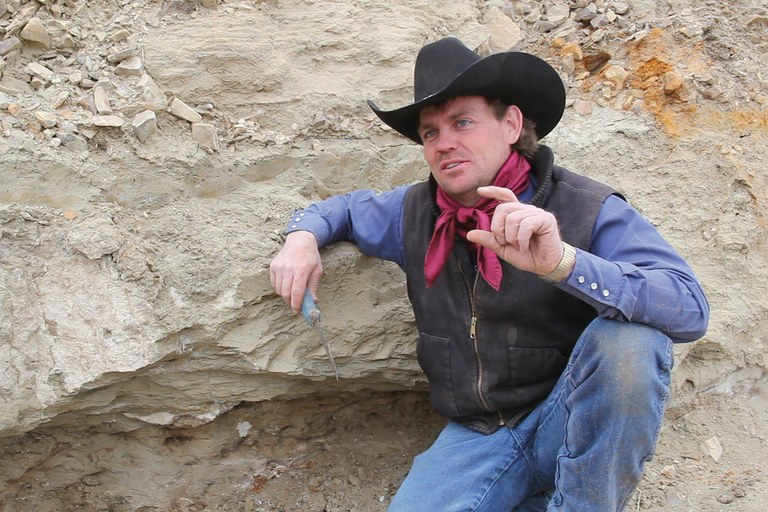 """Dinosaur Cowboy"" Clayton Phipps, whose team discovered, then excavated, the Dueling Dinosaurs."