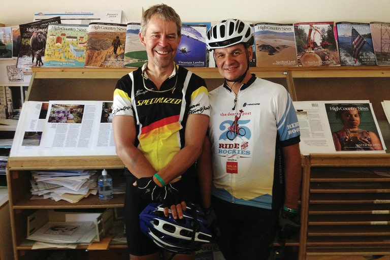 Tom Sisk, left, and Steven Sesnie made a stop at the HCN office this summer during a 450-mile bike tour of Colorado.