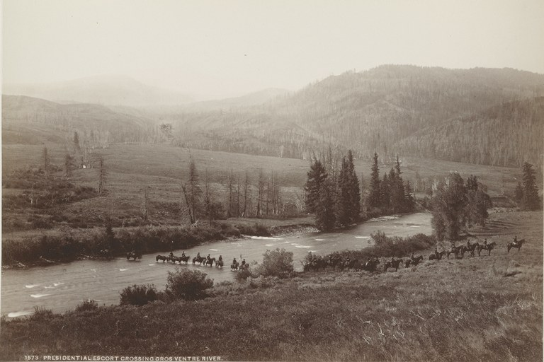 Presidential escort crossing Gros Ventre River.