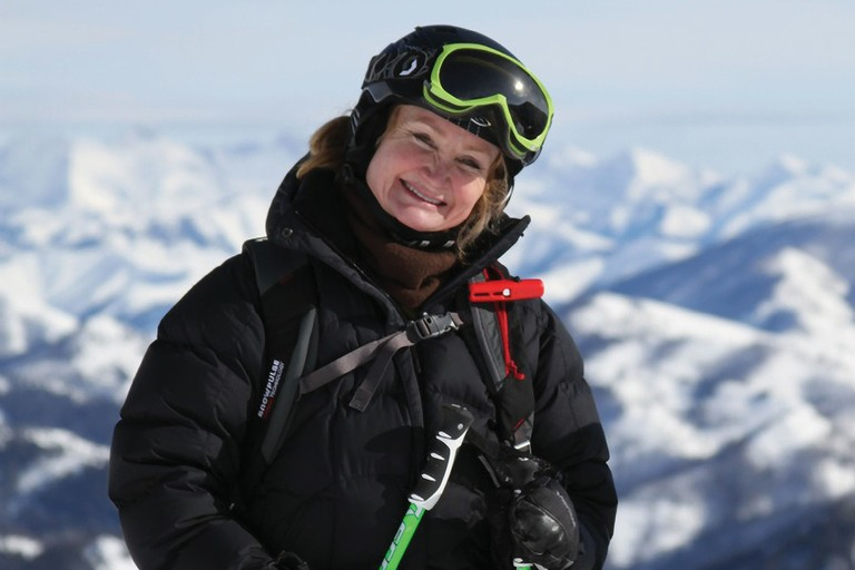 Clean energy advocate -- and Idaho Power shareholder -- Kiki Tidwell (shown heliskiing last winter).  l