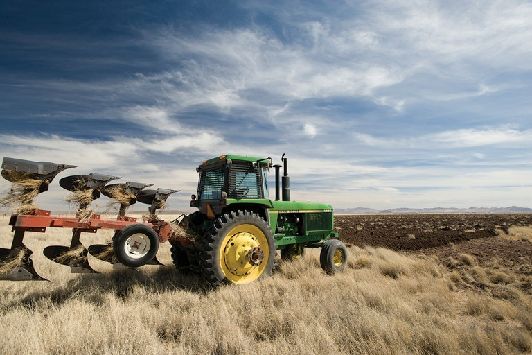 A Mennonite farmer plows grasslands near Janos, Chihuahua, in northern Mexico.