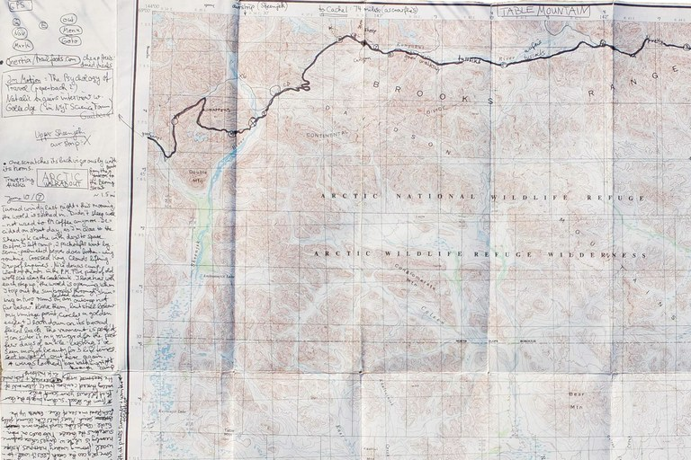 A Brooks Range topographic map (with the author's annotations), the first of several the author used during his trek.