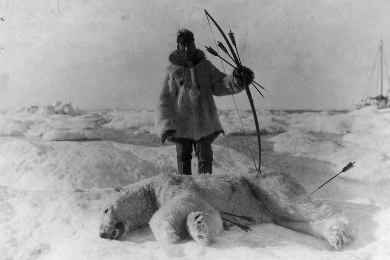 Eskimo hunter in Alaska.