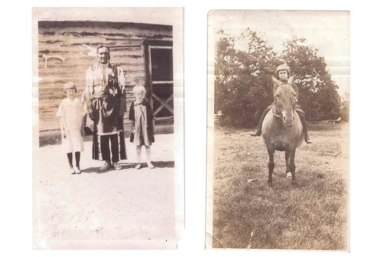 Mary Ahern with her brother, Mickey, and Cold Wind during the 1920s, left, and on her horse, right.