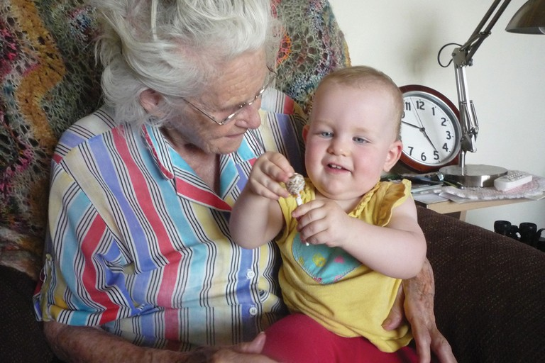 Mary Ahern Maxwell with great-granddaughter Edith Wilkins.