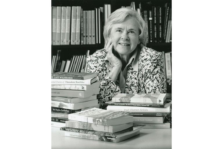 Ruth Kirk with some of the many books she has authored.