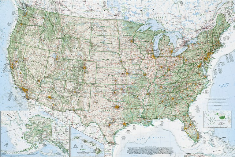 "Dave Imus' award-winning ""Essential Geography of the United States of America"" map."