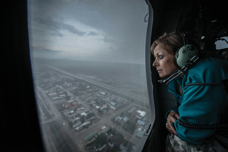 New Mexico Gov. Susana Martinez assesses damage from recent floods in Las Vegas, New Mexico.