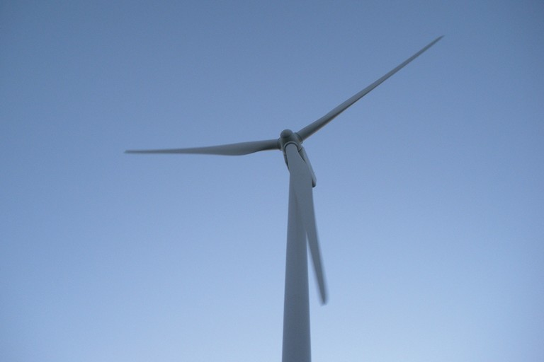 A wind turbine in Cut Bank, Montana.