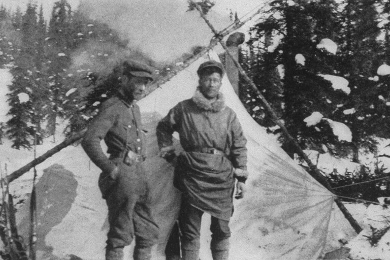 Rev. Hudson Stuck, left, and his guide, Harry Karstens, who together made the first ascent of Mount McKinley, in September 1913.