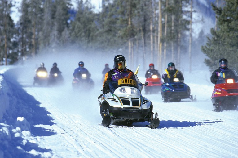 A snowmobile tour at Yellowstone National Park.