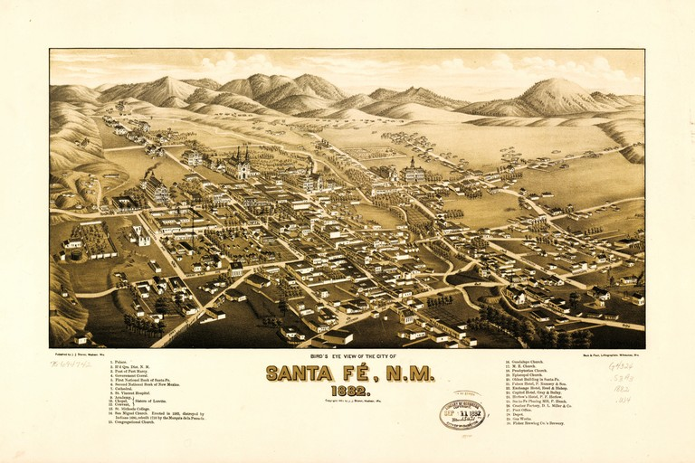 An 1882 bird's-eye view of Santa Fe, New Mexico.