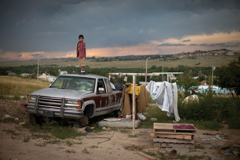 A storm moves into the town of Manderson, South Dakota, on the Pine Ridge Indian Reservation.