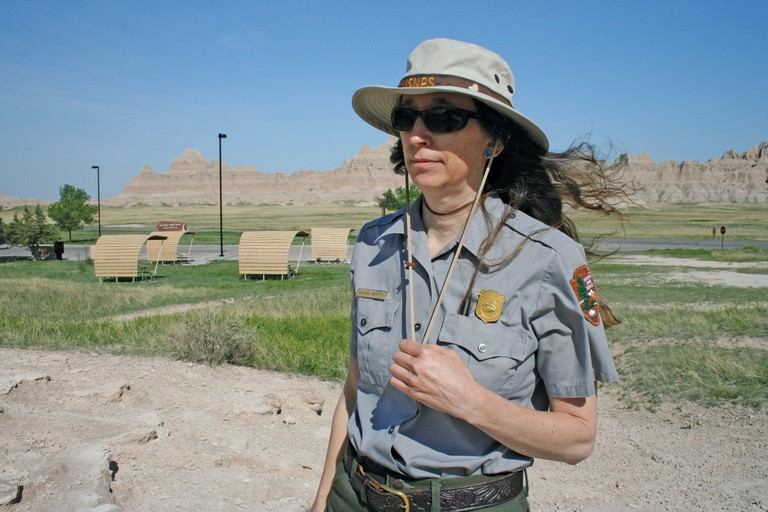 Badlands National Park paleontologist Rachel Benton has worked to protect the park's Titanothere fossils from looters.