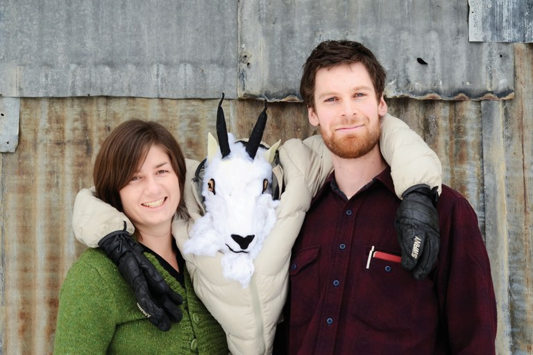 New HCN editorial interns Sarah Jane Keller and Marshall Swearingen pose with the boss-goat.