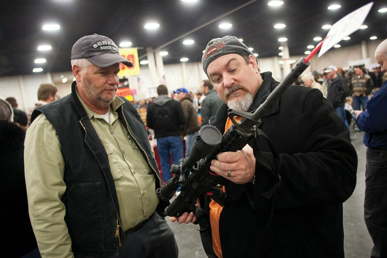 An AR-15 assault rifle gets a close look at the Rocky Mountain Gun Show in Sandy, Utah, last month.