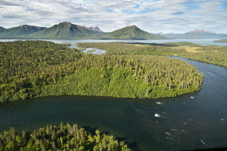 The Agulowok River, one of a network of crucial waterways for salmon that make up the Bristol Bay ecosystem, which could be threatened by nearby mining development including the Pebble Mine.