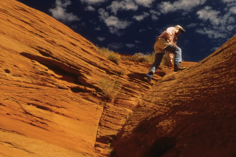 Author Steve Allen climbing in Utah canyon country.