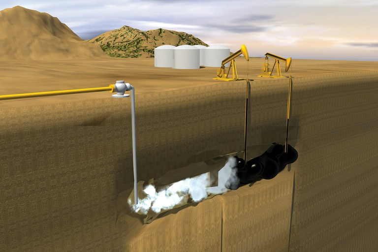 Artist's conception of the CO2 enhanced oil recovery process.