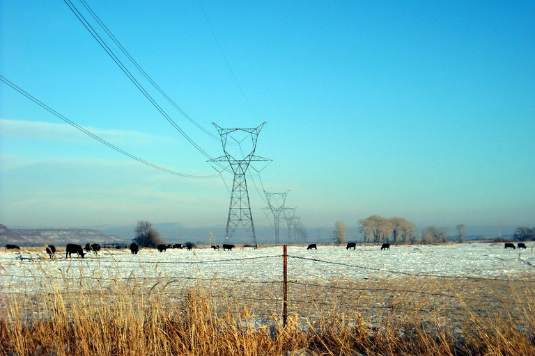 High voltage transmission lines in Duchesne County, Utah.