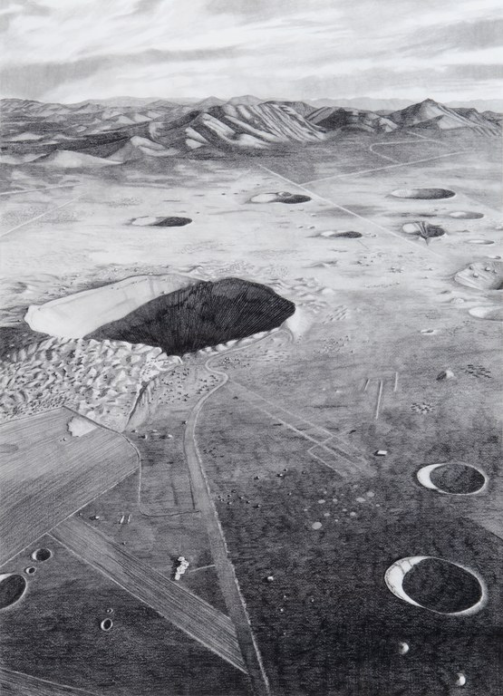"""Sedan Crater, Nevada Test Site, after 1972,"" 2012. Graphite and radioactive charcoal on paper, 22 x 30 inches."