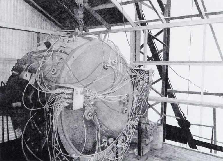 """The Gadget (Trinity Test Site, July 15, 1945),"" 2011. Graphite and radioactive charcoal on paper, 22 x 30 inches."