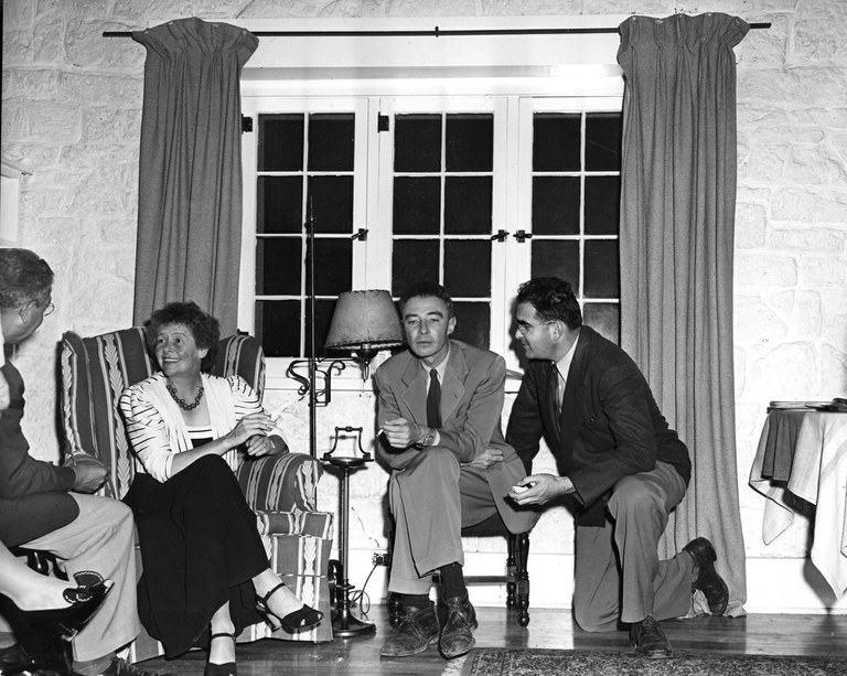 """Gatekeeper"" of Los Alamos, Dorothy McKibbin (left), with Dr. Robert Oppenheimer, credited with creating the atomic bomb."