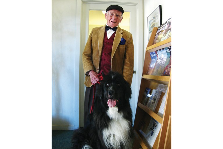 Clyde Burnett brought his Landseer Newfoundland for an HCN office visit. The two made quite the impression. Clyde Burnett brought his Landseer Newfoundland for an HCN office visit. The two made quite the impression.