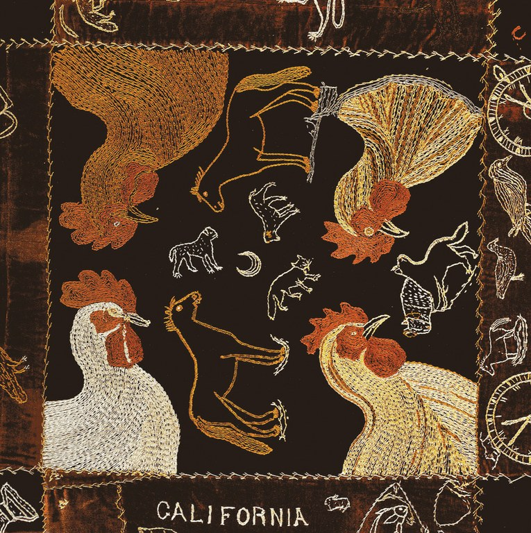 "Detail from the ""More Family Quilt"", embroidered by the five young More siblings as a Christmas gift for their grandmother in Oakland, 1893."