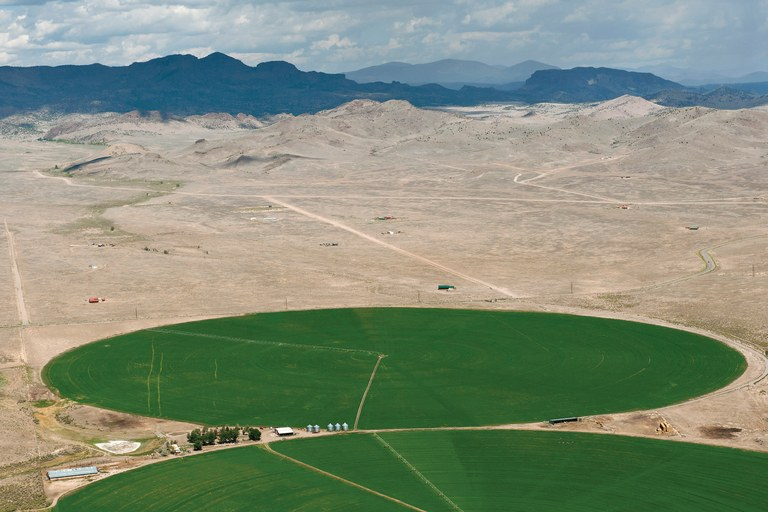 Irrigated fields are surrounded 	by the high desert of Colorado's San Luis Valley.