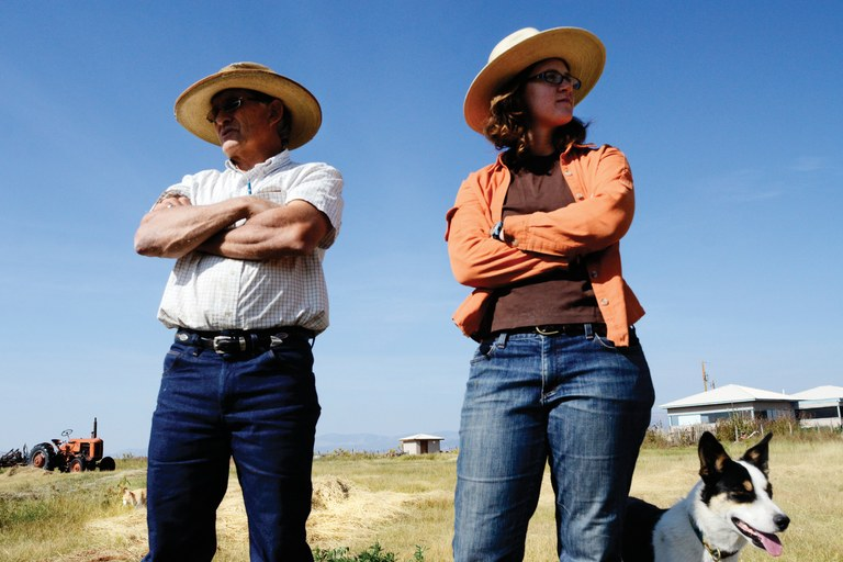George Whitten, with his apprentice, Martha Skelly, uses holistic practices at his ranch on Saguache Creek. Whitten is hopeful that the sub-districts can help restore the aquifer, although it may mean the end of his own business.