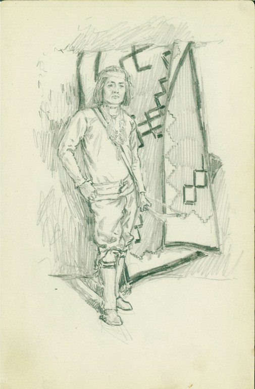 Detail from Donn P. Crane's sketchbook, kept beginning in 1908: a Pueblo Indian.