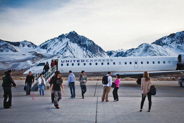 Passengers disembark after arriving in Mammoth Lakes on a flight from San Francisco.