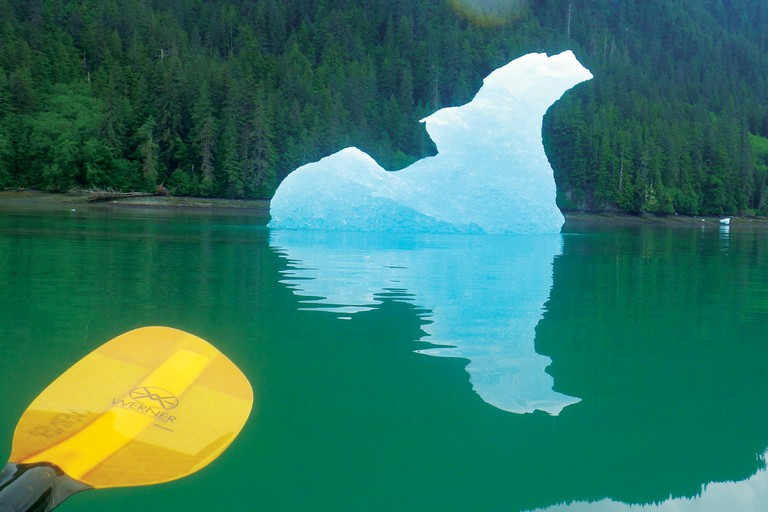 """Looks like a bird, right?"" blogged Nadia White, after paddling from Wrangell, Alaska, to Le Conte Bay.  ""I fell asleep to the booming of bergs calving from the glacier, and the sharp crack, splash and hiss of big bergs becoming smaller."""