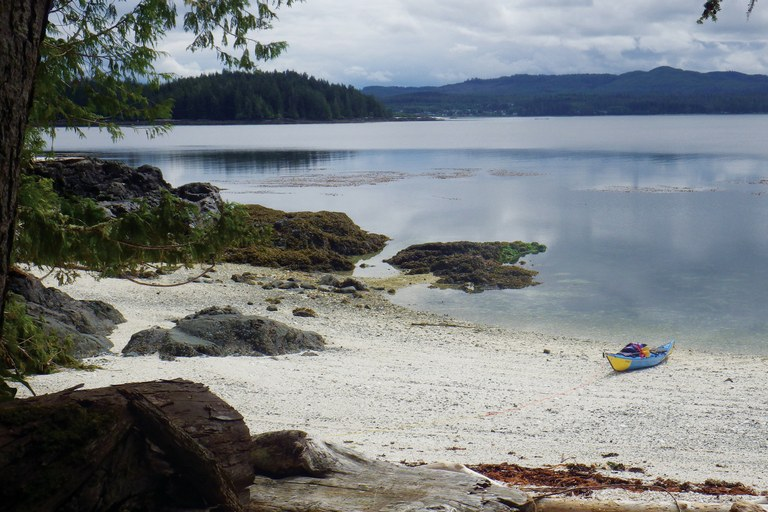 """Oh, what a tease of a day. Despite strong wind warnings, the sea hardly rippled and 25 miles flew under me like kelp,"" blogged the author, after paddling Cape Caution. ""A white shell beach and rare sunny afternoon camp."""