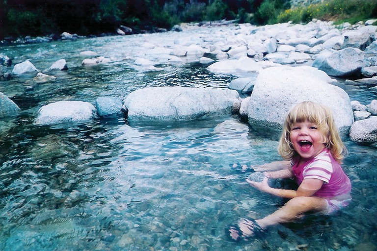 Alex Lanza, then 2, enjoys Skillern Hot Springs, during a multifamily backpacking trip in Idaho's Smoky Mountains.