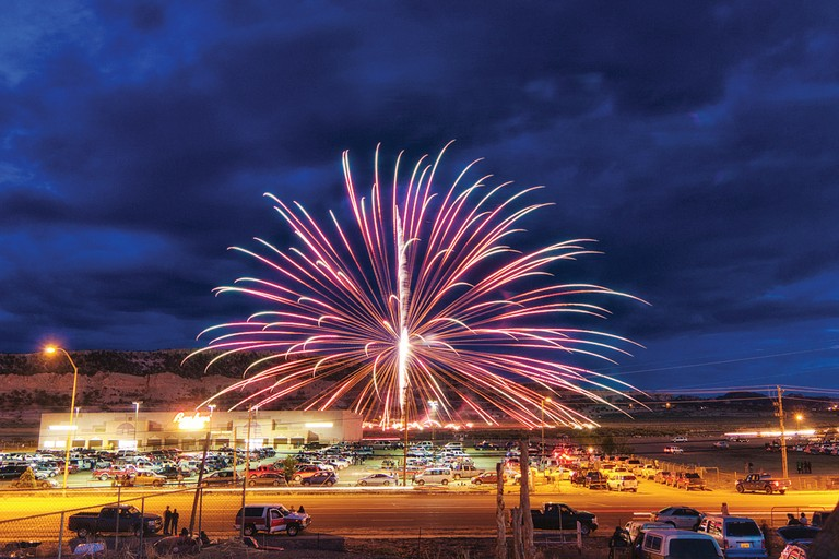 Independence Day fireworks above the Navajo Nation's Fire Rock Casino in Gallup, New Mexico. The tribe now plans a luxury casino near Flagstaff, Arizona, its fourth gambling center.