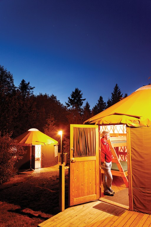 Twilight at the rental yurts at Kayak Point County Park in Snohomish County, Washington.