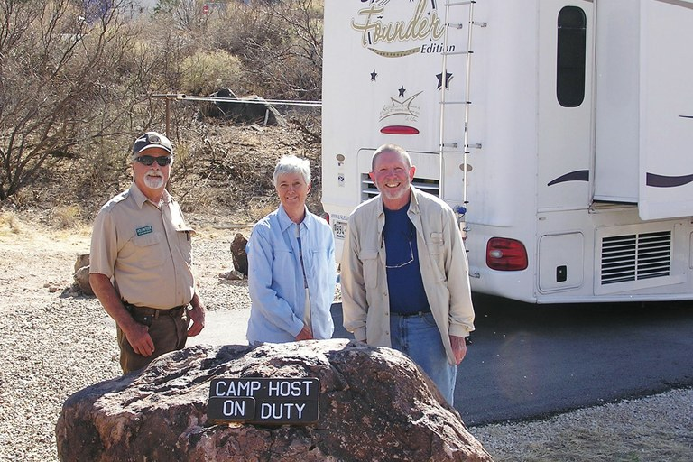 Big Bend National Park camp hosts Ed Davis and Mary Lynn and Jim Murrell, who volunteer 32 hours a week in exchange for a free RV hookup and free access to the largest expanse of roadless public lands in Texas.