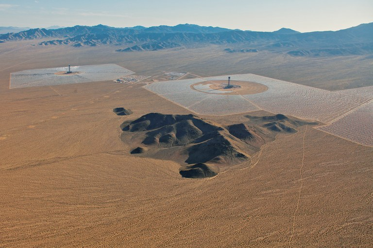 Ivanpah Solar Electric Generating Station, nearing completion on BLM land sandwiched between segments of the Mojave Desert Preserve in California.