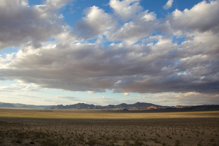 The Broadwell Valley, with the Cady Mountains in the distance, site of the 3,800-acre K Road Calico solar project, which is under review. The site lies just west of a national monument proposed in the California Desert Protection Act.