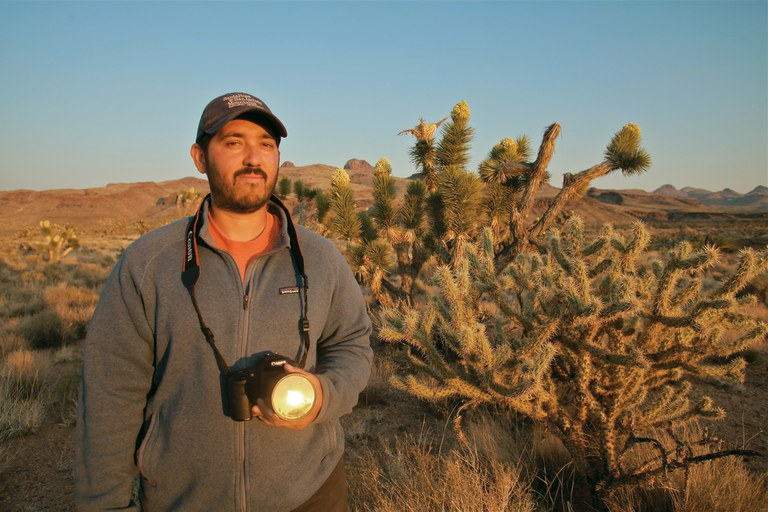 Biologist and wildlife photographer David Lamfrom on the edge of the Castle Mountains.