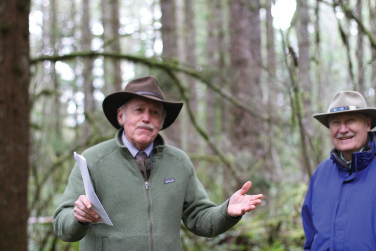 Norm Johnson, left, and Jerry Franklin explain ecological forestry at a sale called Steam Donkey  in the Bureau of Land Managemen