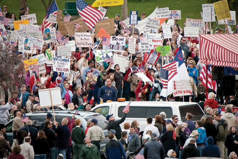 A 2009 anti-tax rally at Independence Point in Coeur d'Alene, Idaho, staged by the local Tea Party. Ultra-conservatives have also pushed the local Republican Party further to the right.