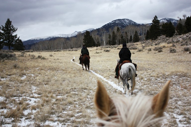 Frey and Counts on the trail during a December 2012 wolf hunt in Montana.