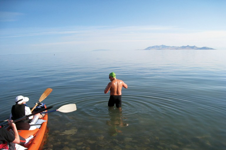 Gordon Gridley begins a 19-plus mile swim from Black Rock to White Rock Bay in the Great Salt Lake.