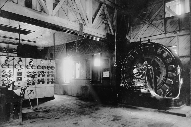 The switchboard and generator of the world's first single-phase AC power transmission system at the Ames hydroelectric plant near Telluride, Colorado. The plant, now owned by Xcel Energy, continues to feed up to 3.75 MW into the grid.